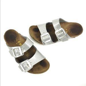 Birkenstock's Kids Silver Glitter Arizona Sandals